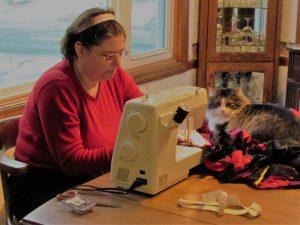 Karen Purcell at sewing machine