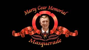 Marty Gear Memorial Masquerade logo, with Marty Fear as a vampire