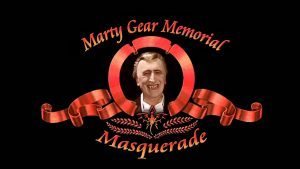 Marty Gear Memorial Masquerade - Movie studio type logo with Marty Gear's vampire character